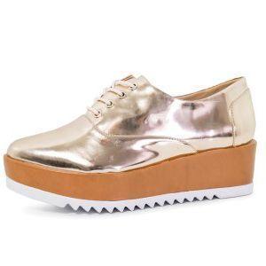 Tênis Conceito Fashion Flatform Metalizado Dourado
