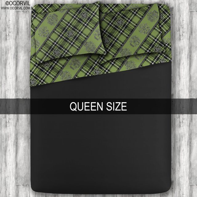 Jogo De Lençol De Caveira Xadrez Celta Verde Preto Queen Size