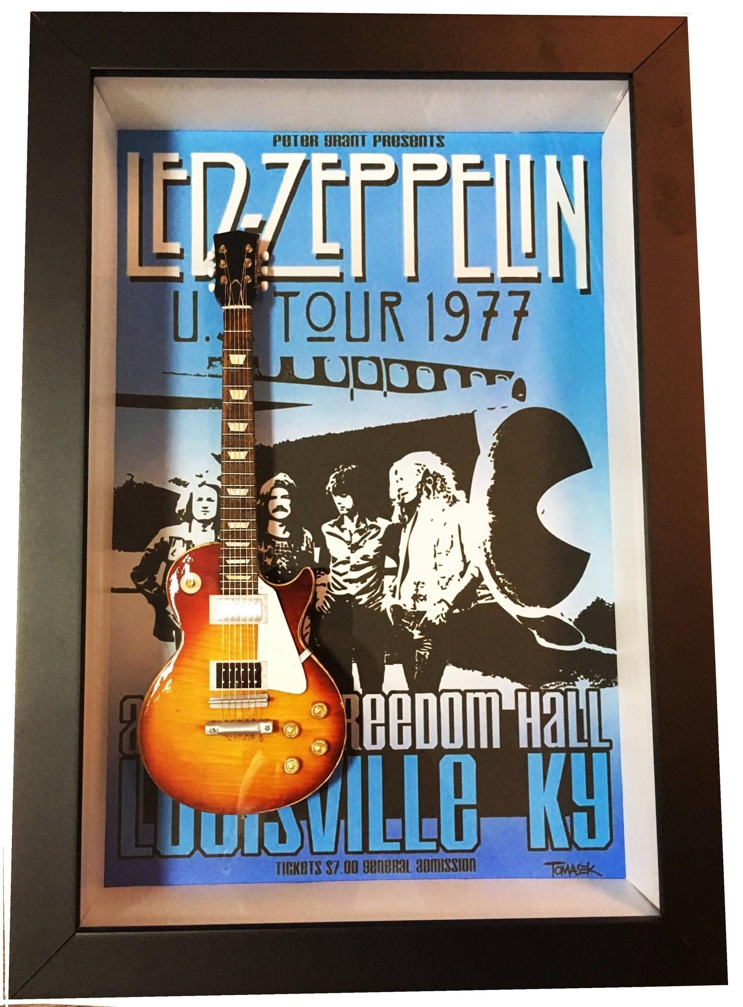 MiniLuthieria - Led Zeppeling - Quadro Jimmy Page com Mini Guitarra