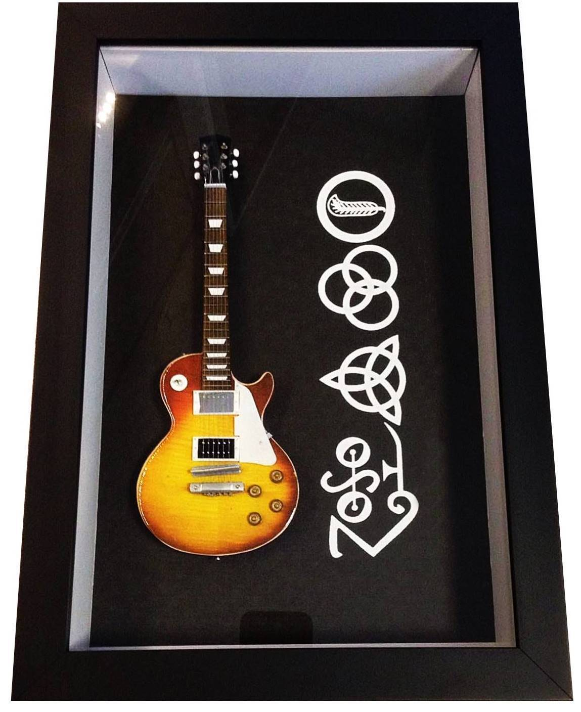 MiniLuthieria - Led Zeppelin – Quadro Logo com Mini Guitarra