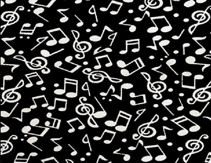 Mouse Pad Símbolos Musicais Preto 17X22 CM
