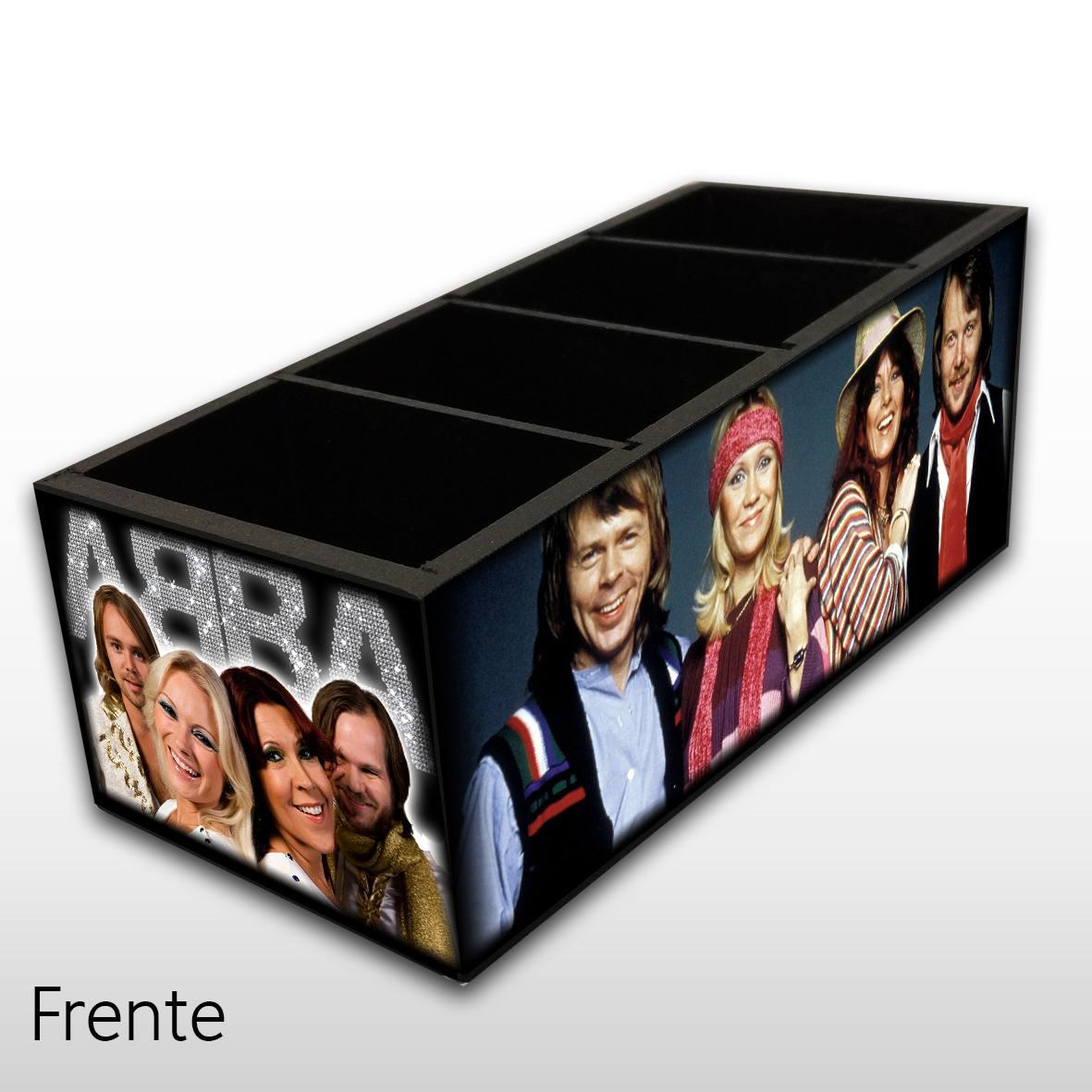 Porta Controle Remoto em Madeira MDF com 4 Espaços Mr. Rock ABBA