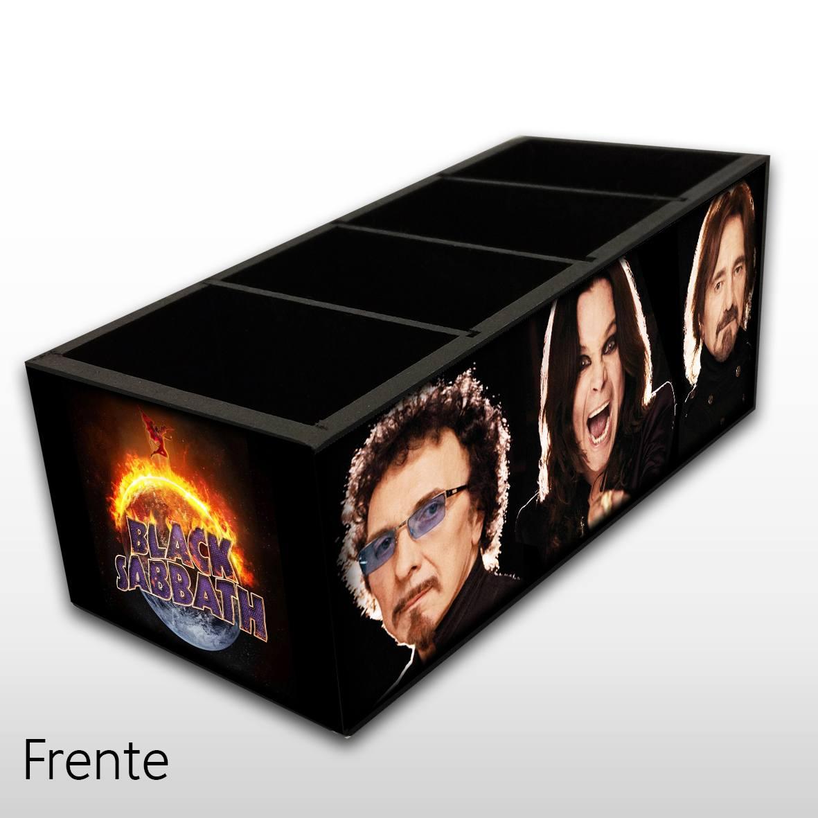 Porta Controle Remoto em Madeira MDF com 4 Espaços Black Sabbath - Mr. Rock