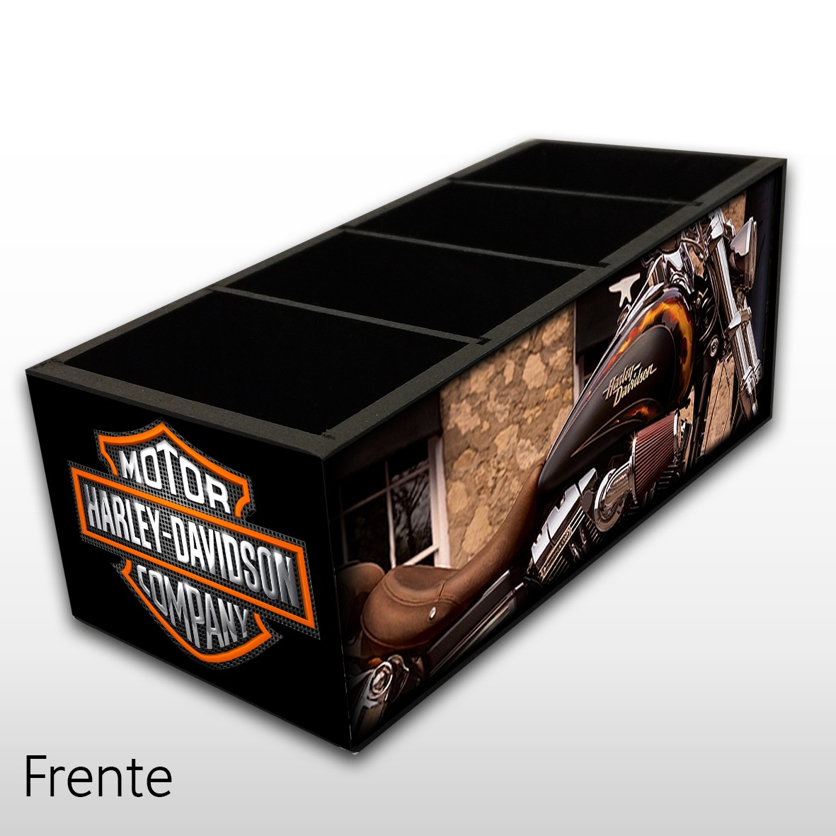 Porta Controle Remoto em Madeira MDF com 4 Espaços Harley Davidson - Mr. Rock