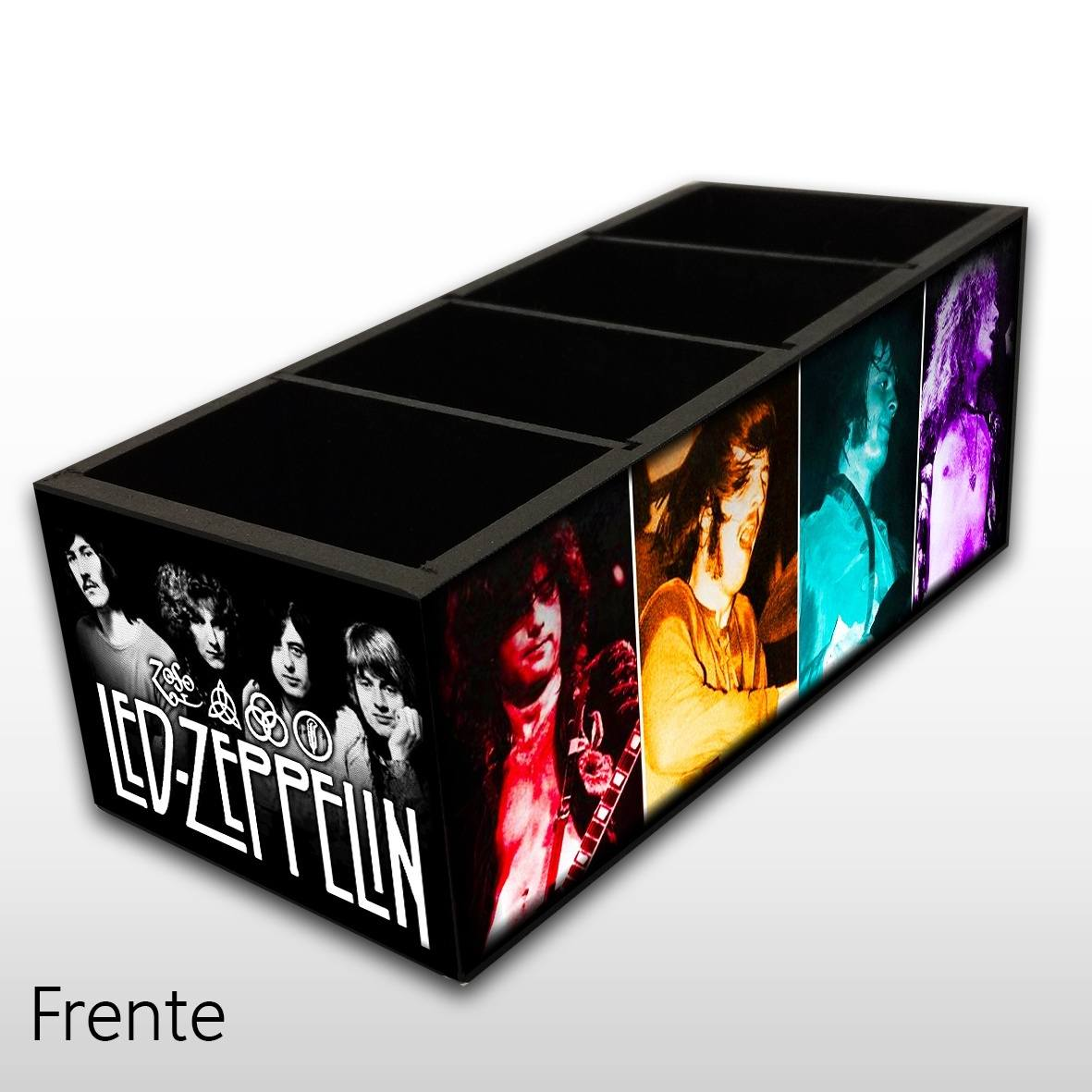 Porta Controle Remoto em Madeira MDF com 4 Espaços Mr. Rock Led Zeppelin