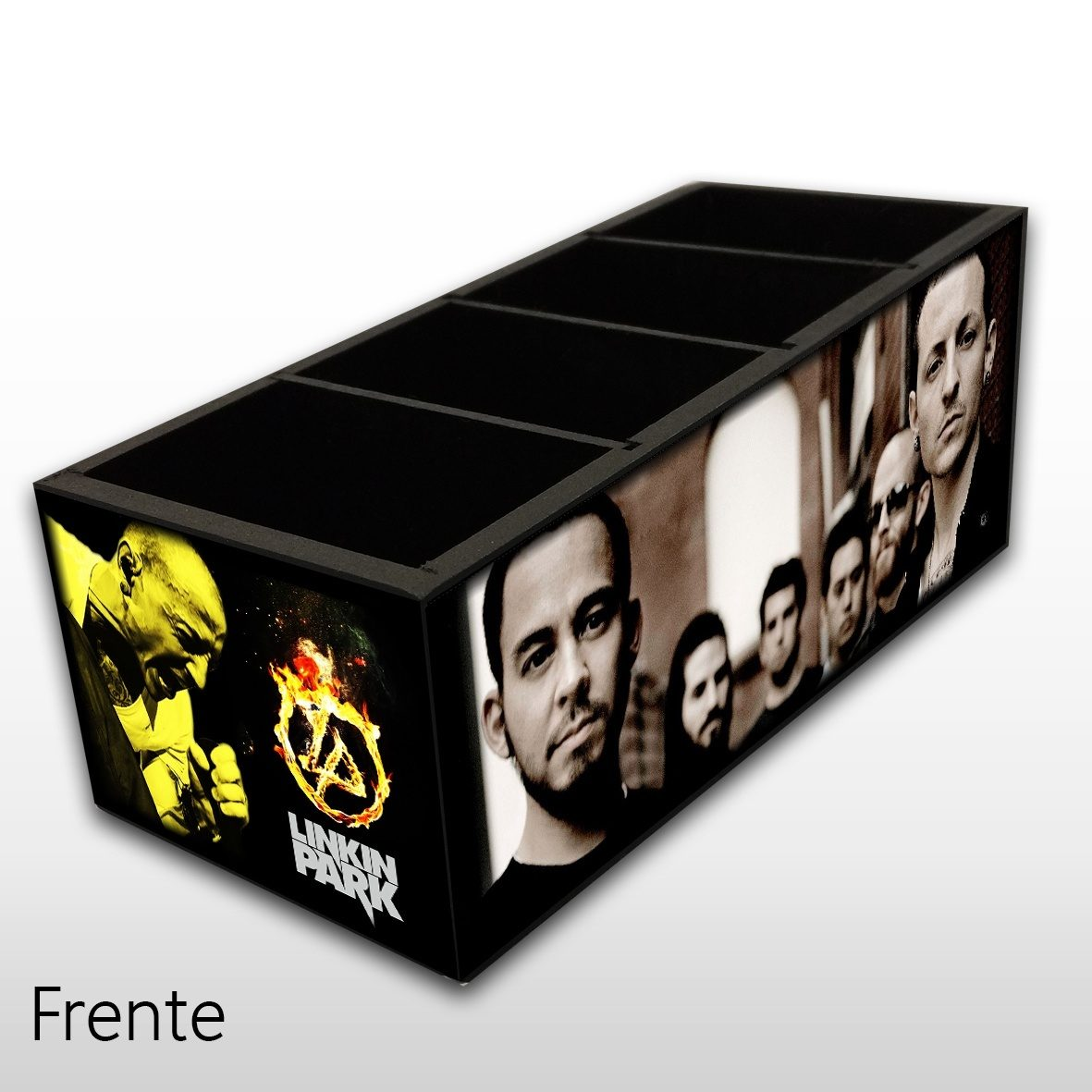 Porta Controle Remoto em Madeira MDF com 4 Espaços Mr. Rock Linkin Park