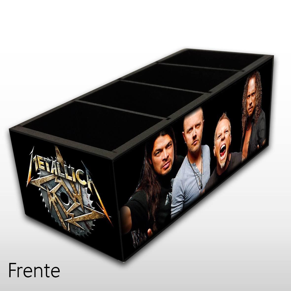 Porta Controle Remoto em Madeira MDF com 4 Espaços Mr. Rock Metallica
