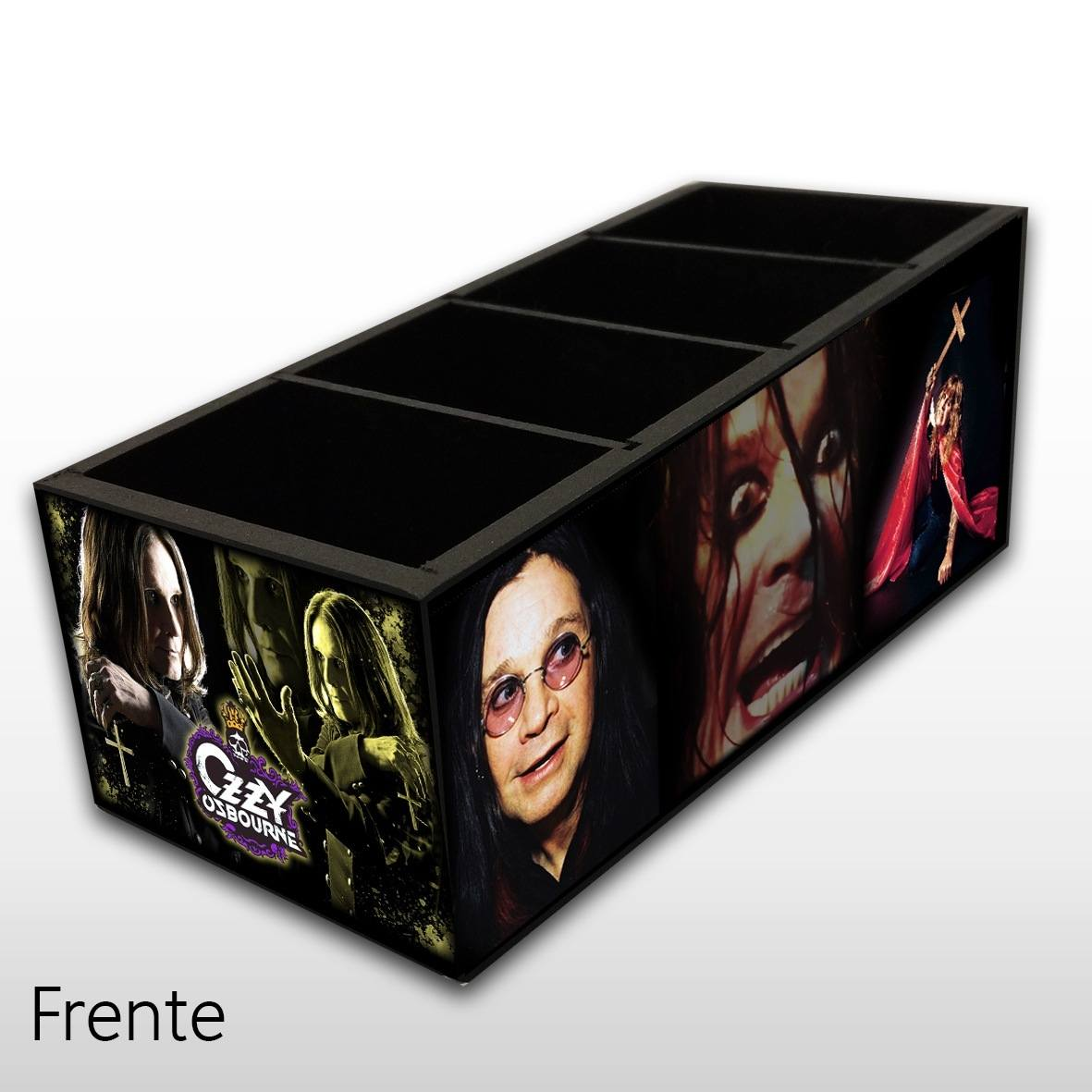 Ozzy Osbourne - Porta Controles em Madeira MDF - 4 Espaços - Mr. Rock