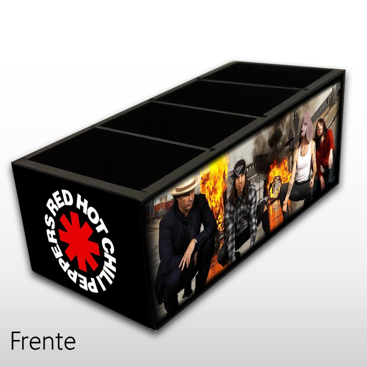 Porta Controle Remoto em Madeira MDF com 4 Espaços Mr. Rock Red Hot Chilli Peppers