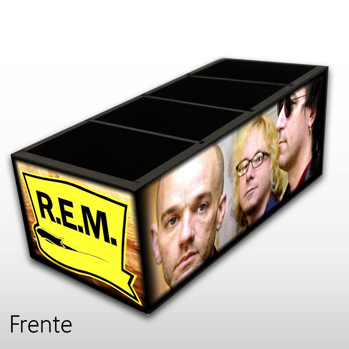Porta Controle Remoto em Madeira MDF com 4 Espaços Mr. Rock R.E.M