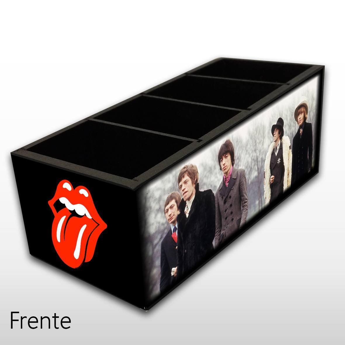 Porta Controle Remoto em Madeira MDF com 4 Espaços Mr. Rock Rolling Stones