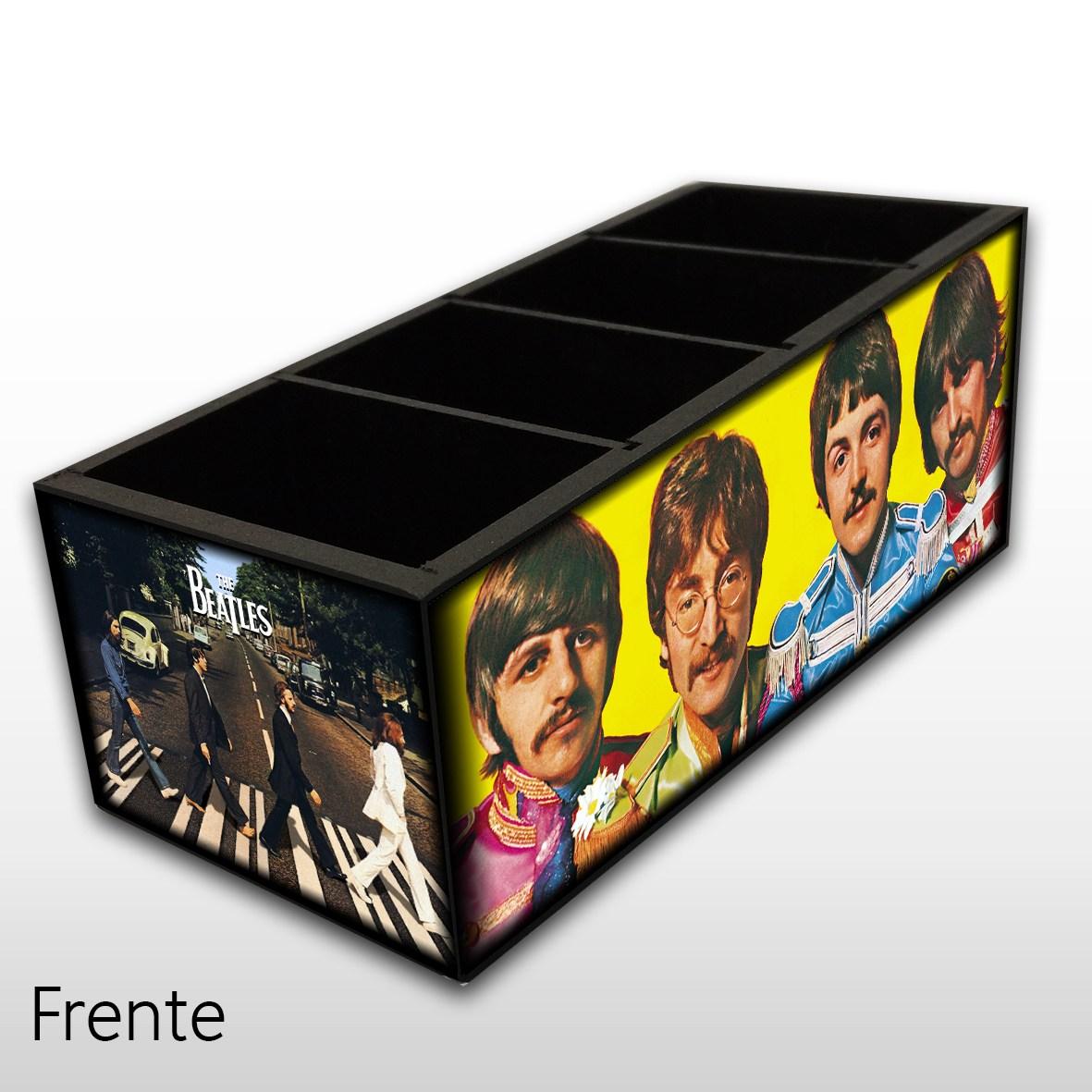 Porta Controle Remoto em Madeira MDF com 4 Espaços Mr. Rock The Beatles