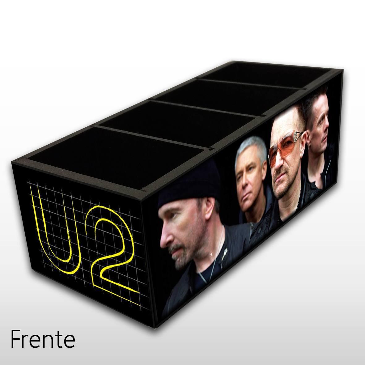Porta Controle Remoto em Madeira MDF com 4 Espaços Mr. Rock U2