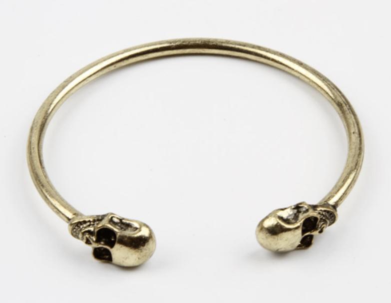 Pulseira Bracelete Skull Rock - Ouro Velho