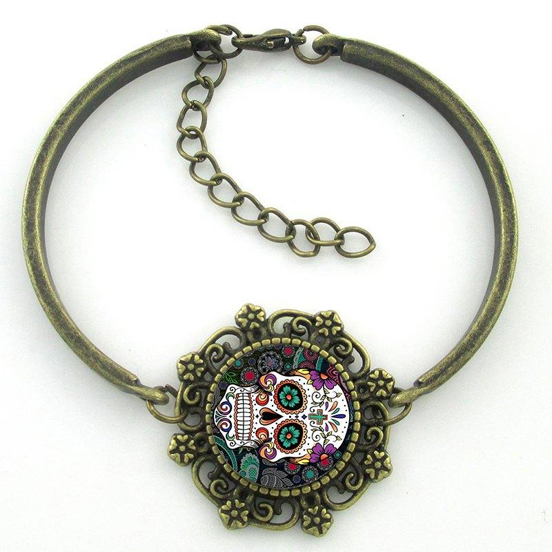 Pulseira Caveira Mexicana Colours - Ouro Velho