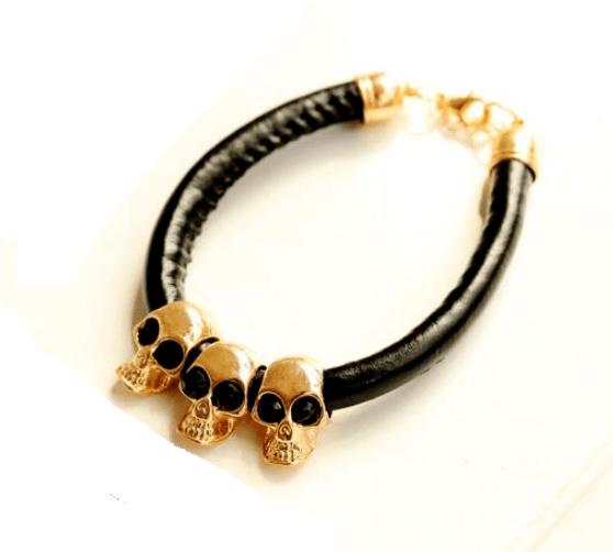 Pulseira Skull Gold Trio