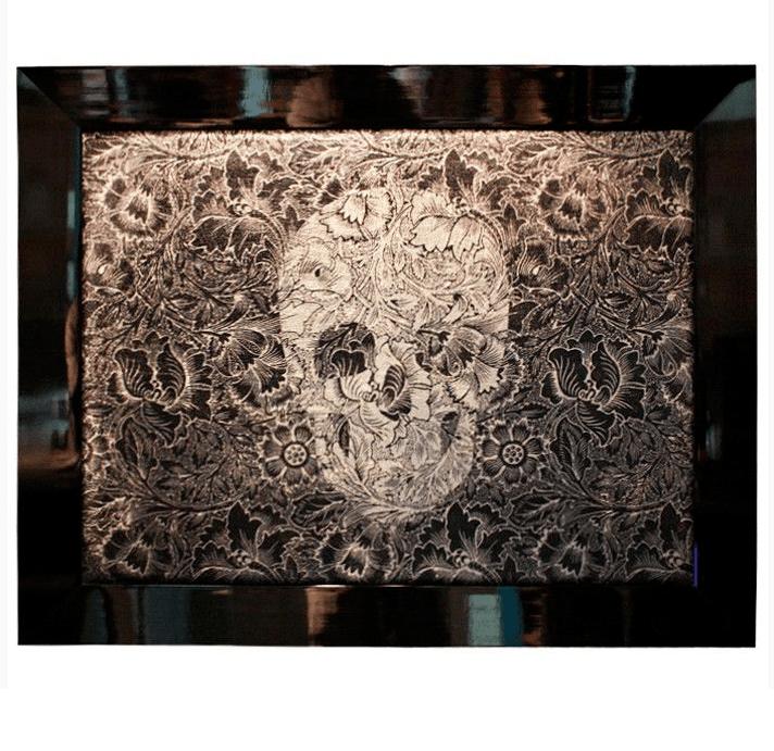 Quadro em Tecido com Moldura Skull Flower Black – Rvalentim