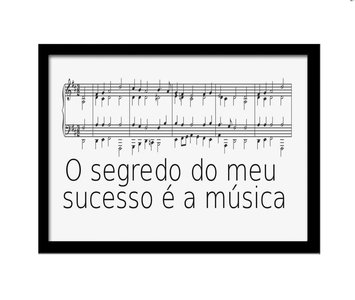 Quadro MDF Sucesso Música 33x25cm Moldura Preto