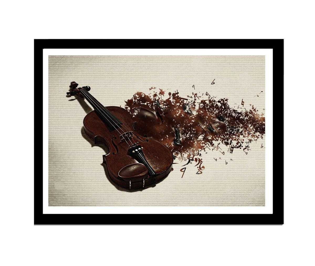 Quadro MDF violino 33x25cm Moldura Preto