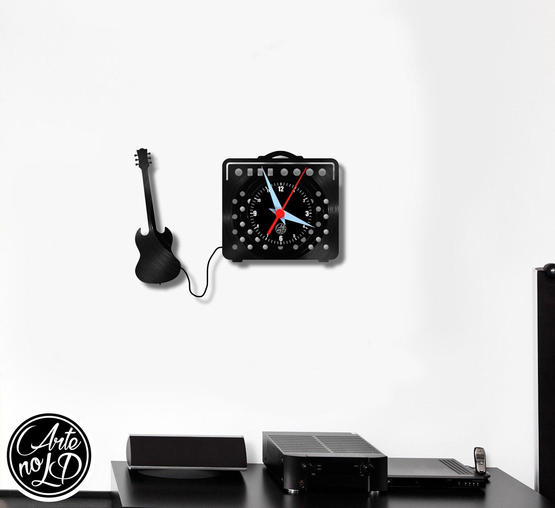 Relógio de Parede - Amplificador e Guitarra