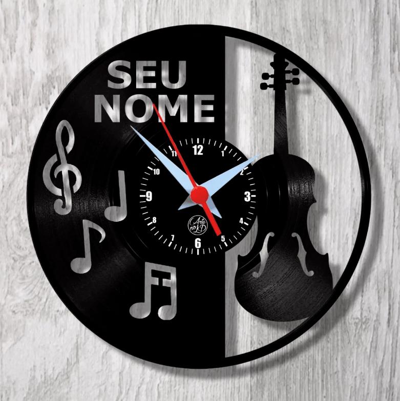Relógio de Parede - Violino com Notas Musicais - Personalizado
