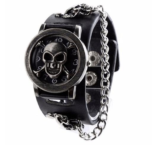 Relógio Skull Pulseira Corrente II - Prata