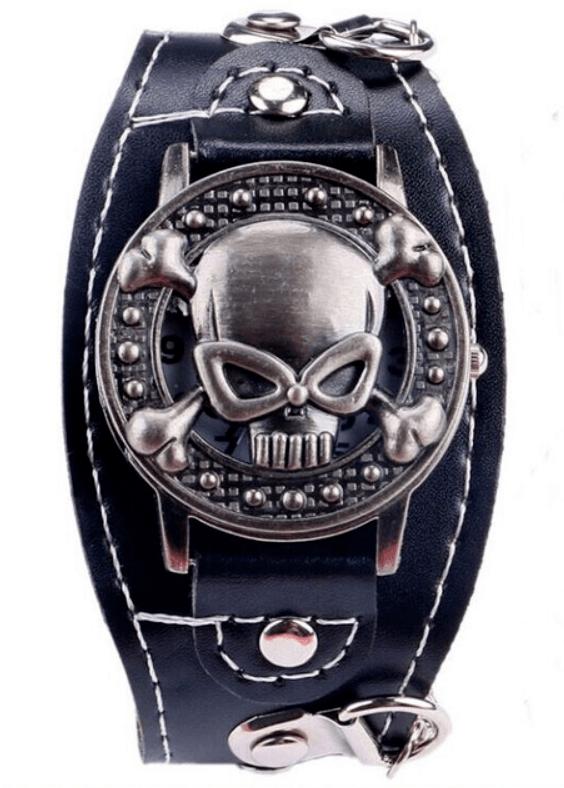 Relógio Skull Pulseira Corrente Prata - SkullAchando
