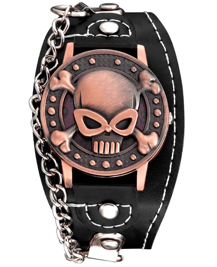 Relógio Skull Pulseira Corrente - Cobre