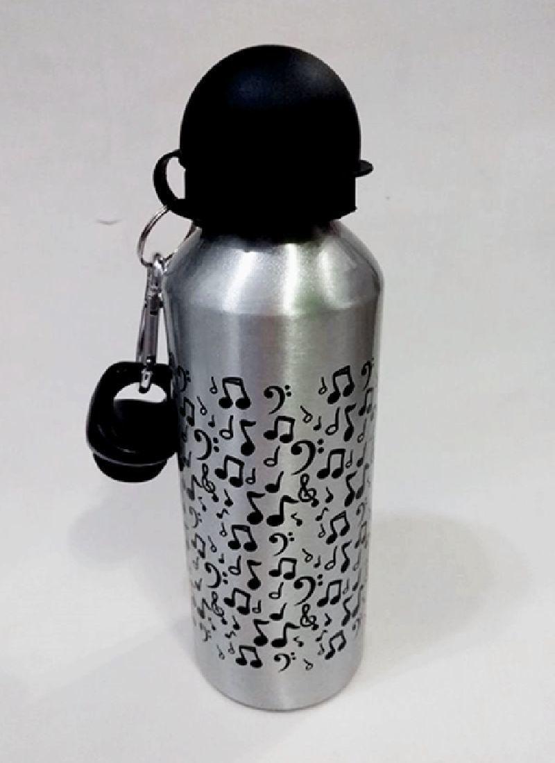 Squeeze De Alumínio Personalizado Com Notas Musicais Preto