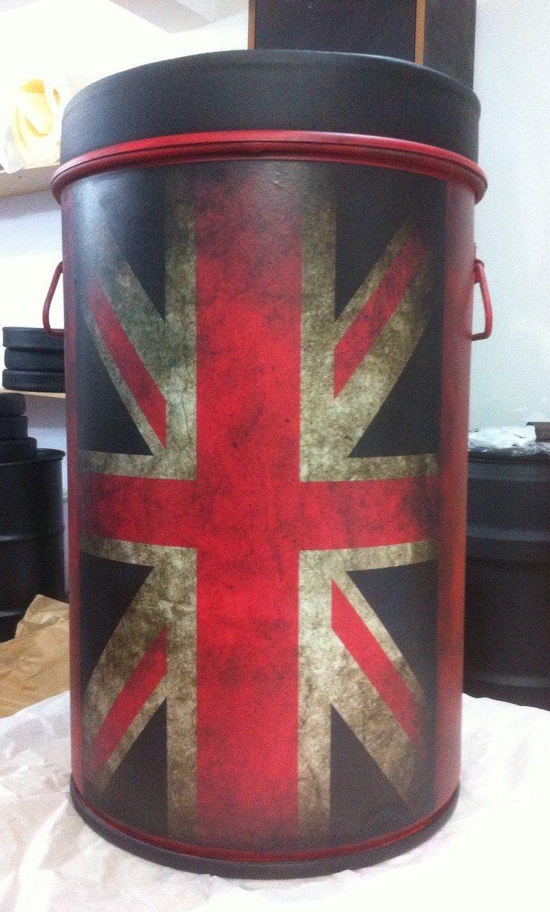 Tambor Decorativo Tamanho M Com Alça e Puff Bandeira da Inglaterra
