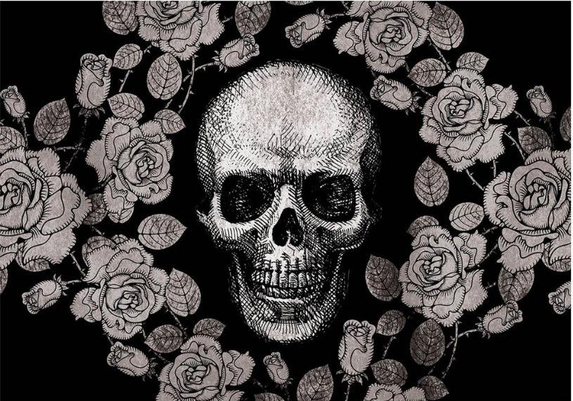 Tapete Skull Flowers
