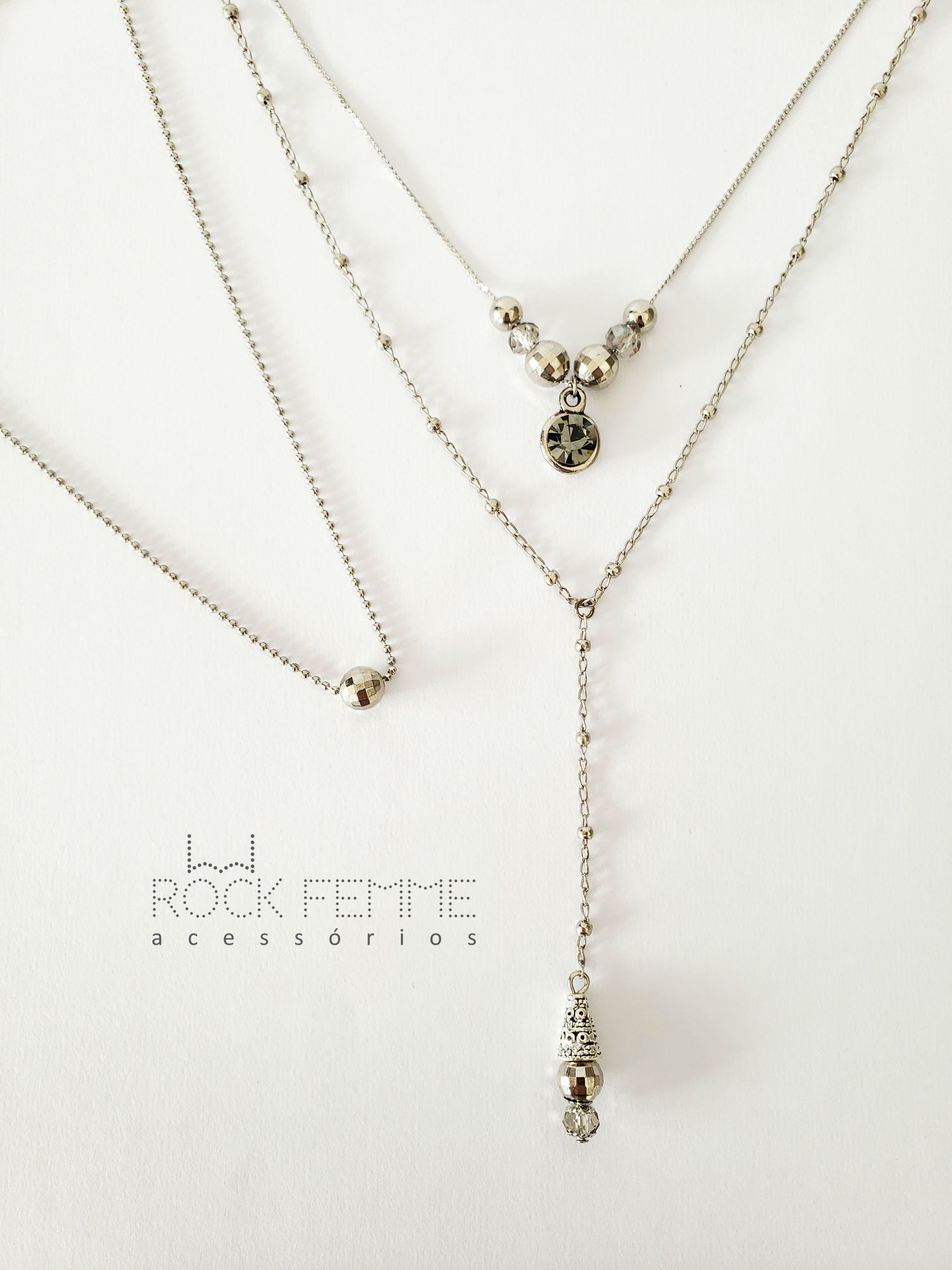 Trio de Colares Prata - Rock Femme Acessórios