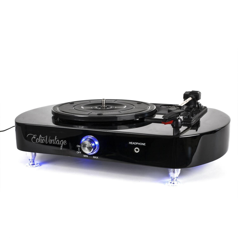 Vitrola Toca Discos Luminous - Preta com Iluminação de LED - Echo Vintage