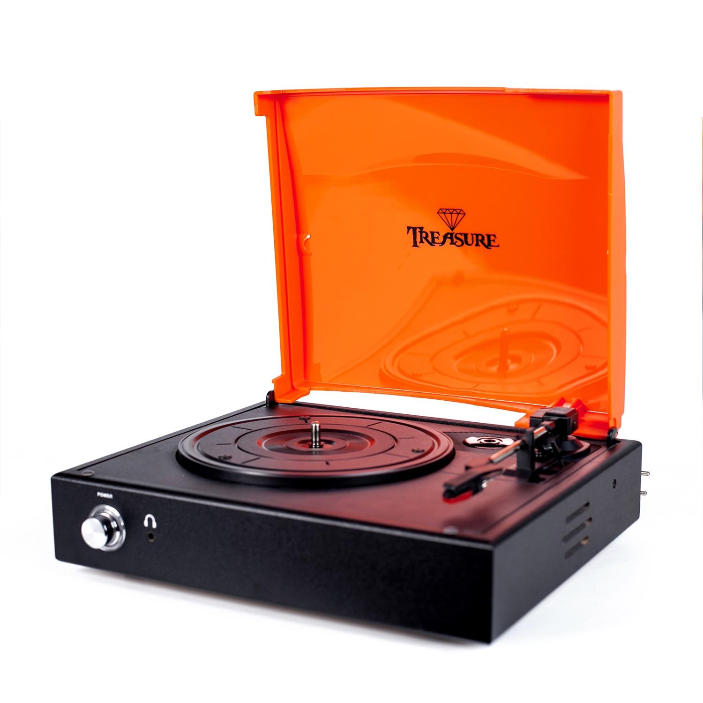 VitrolaVitrola Toca Discos Baú Treasure - Preto/Laranja com software de gravação para MP3 Echo Vintage