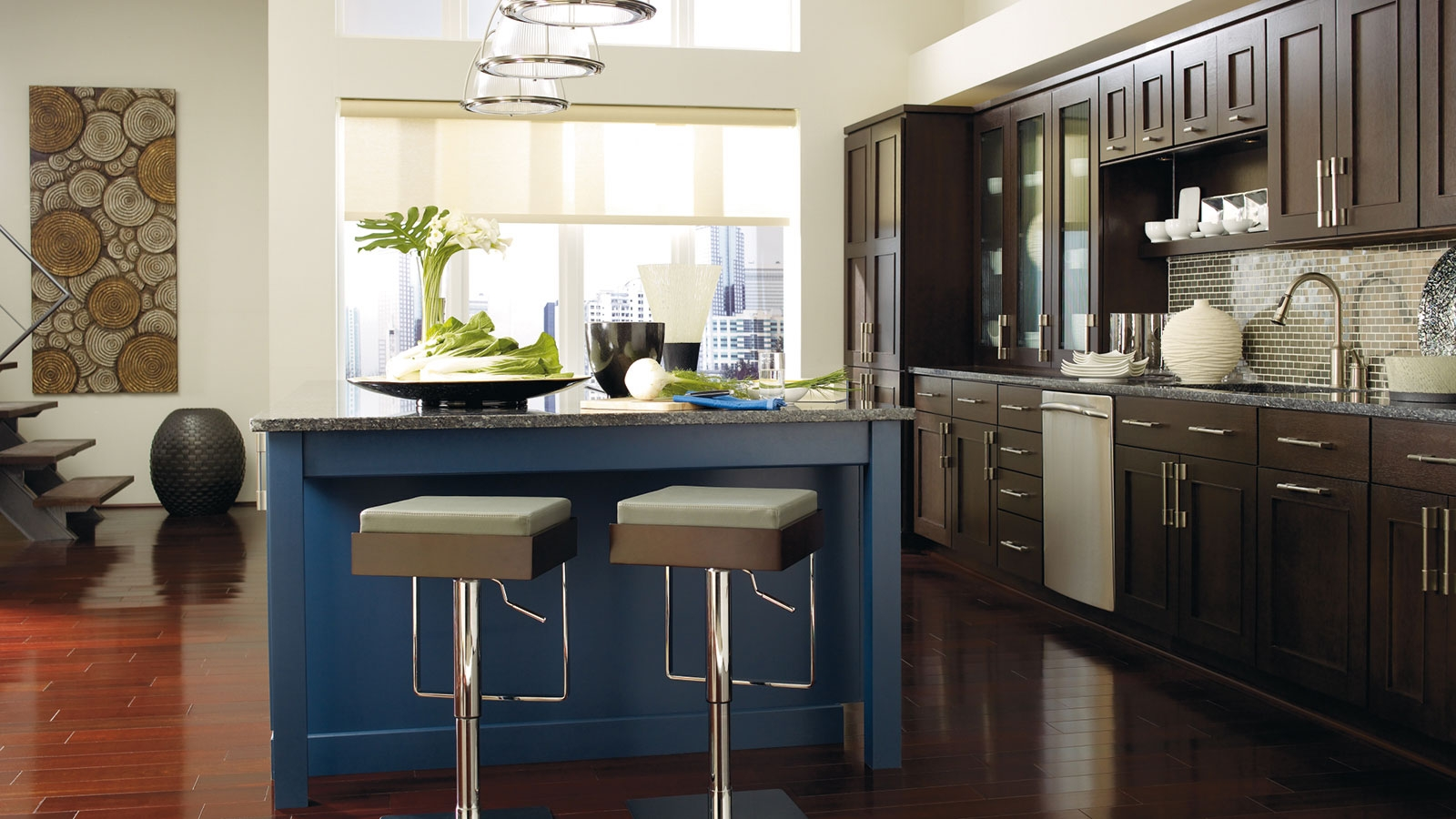Permalink to Blue Finish Kitchen Cabinets