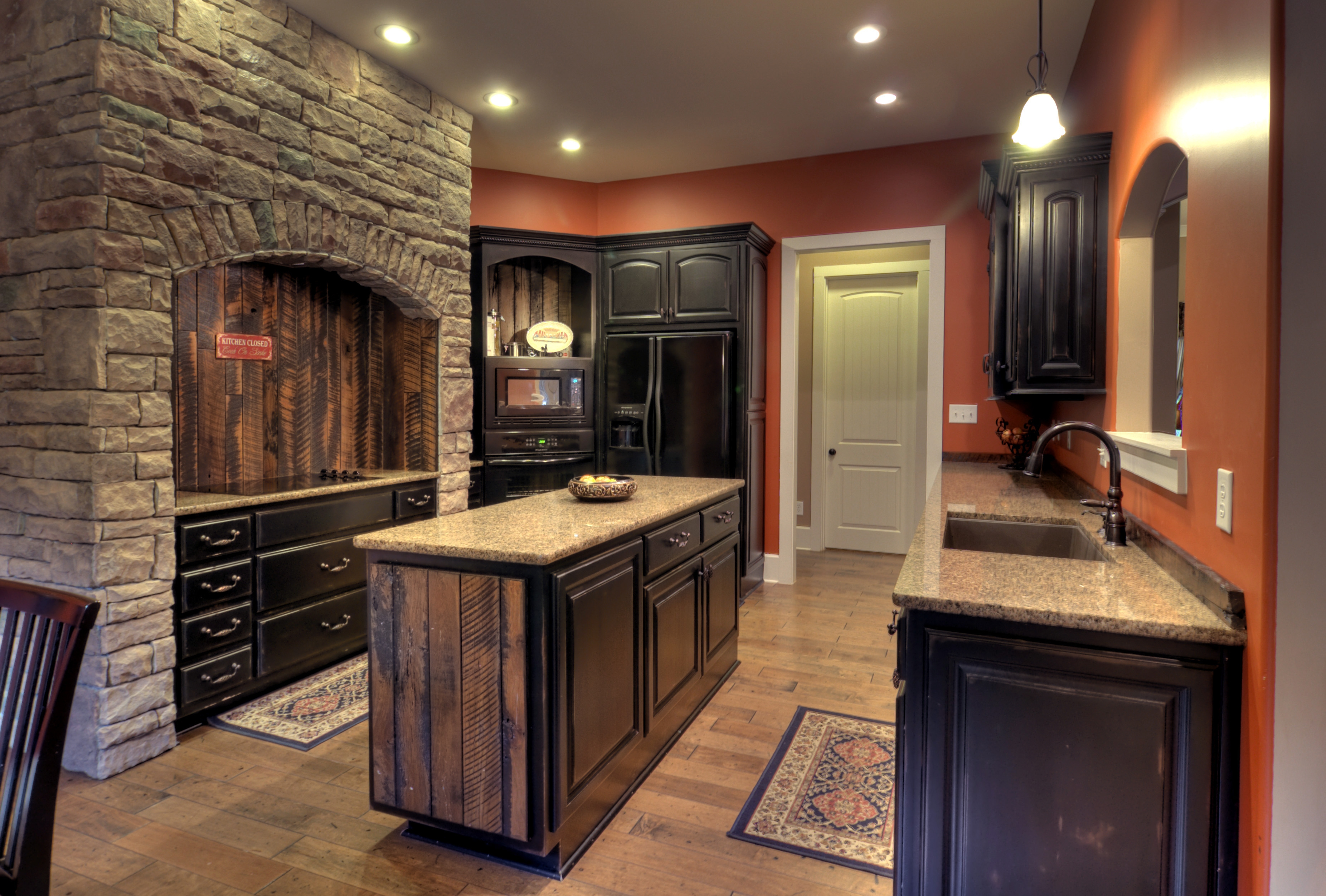 Dark Distressed Kitchen Cabinets