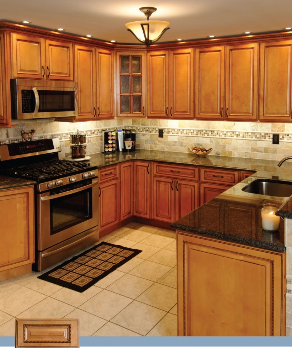 Kitchen With Maple Cabinets And Black Granite