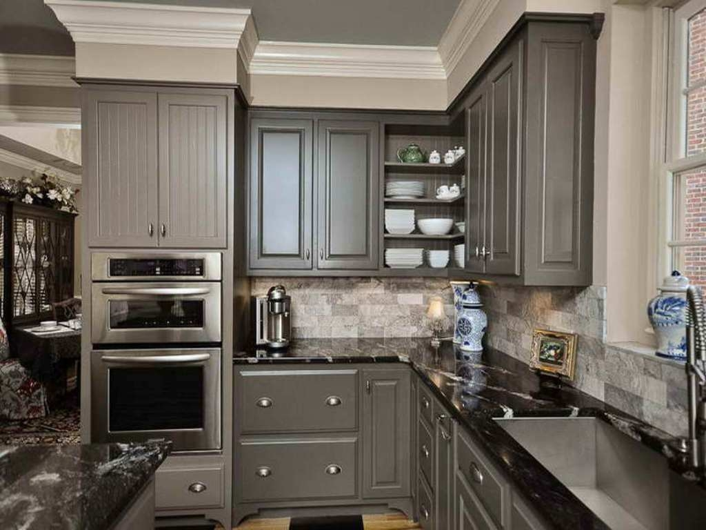 Light Gray Kitchen Cabinets With Black Appliances