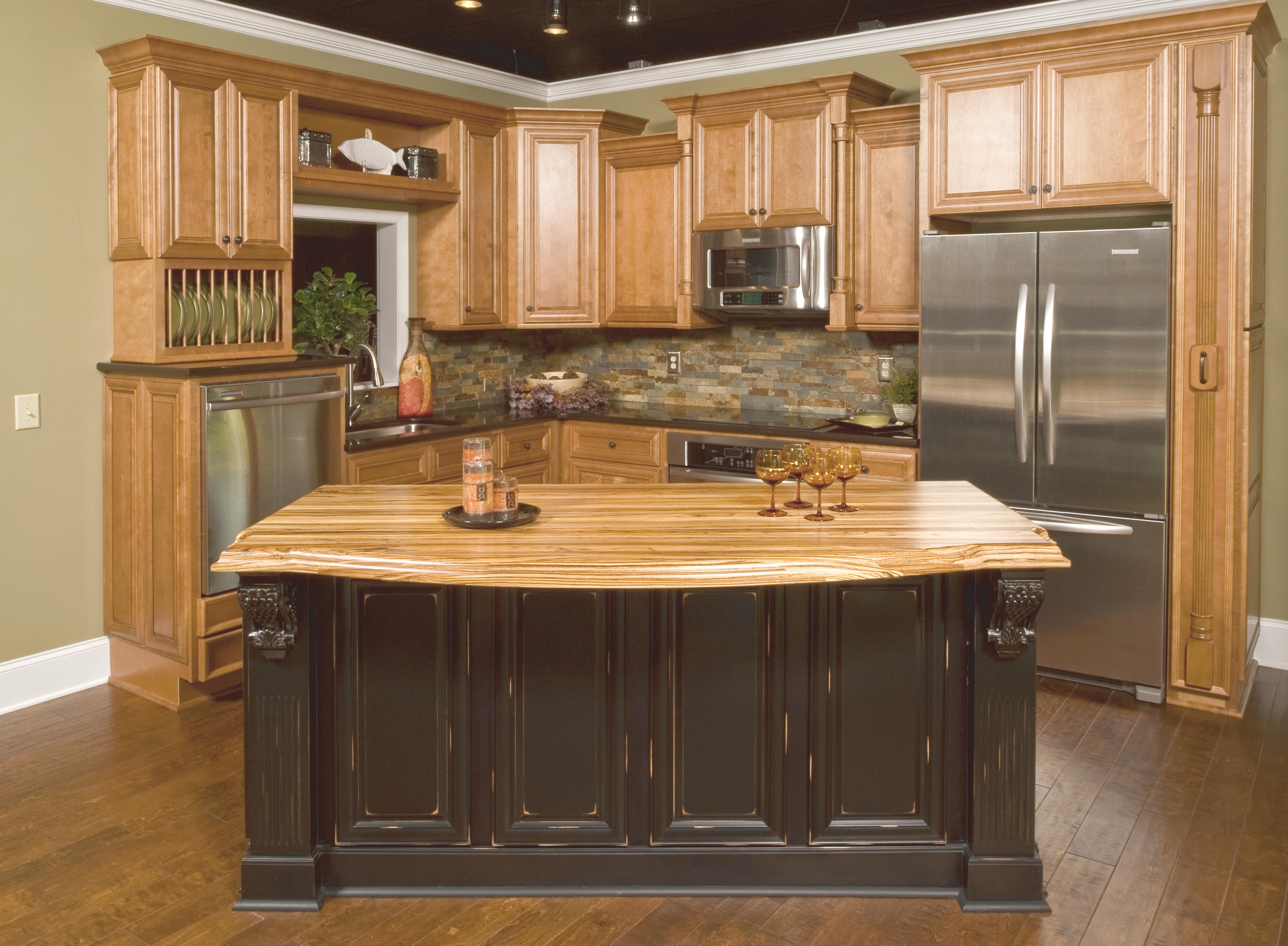 Black Distressed Wood Kitchen Cabinets