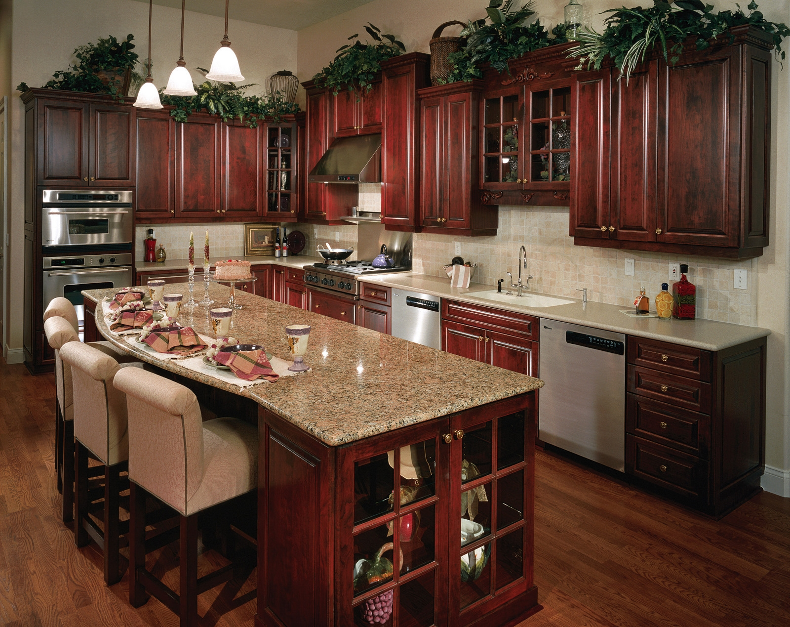 Cherry Coloured Kitchen Cabinets