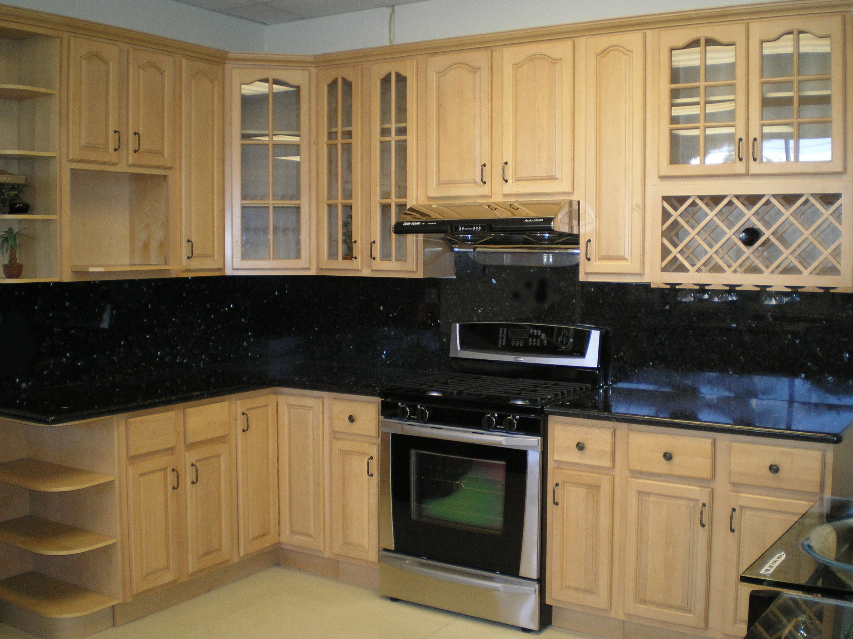 Black Kitchen Wall Cabinets With Glass Doors