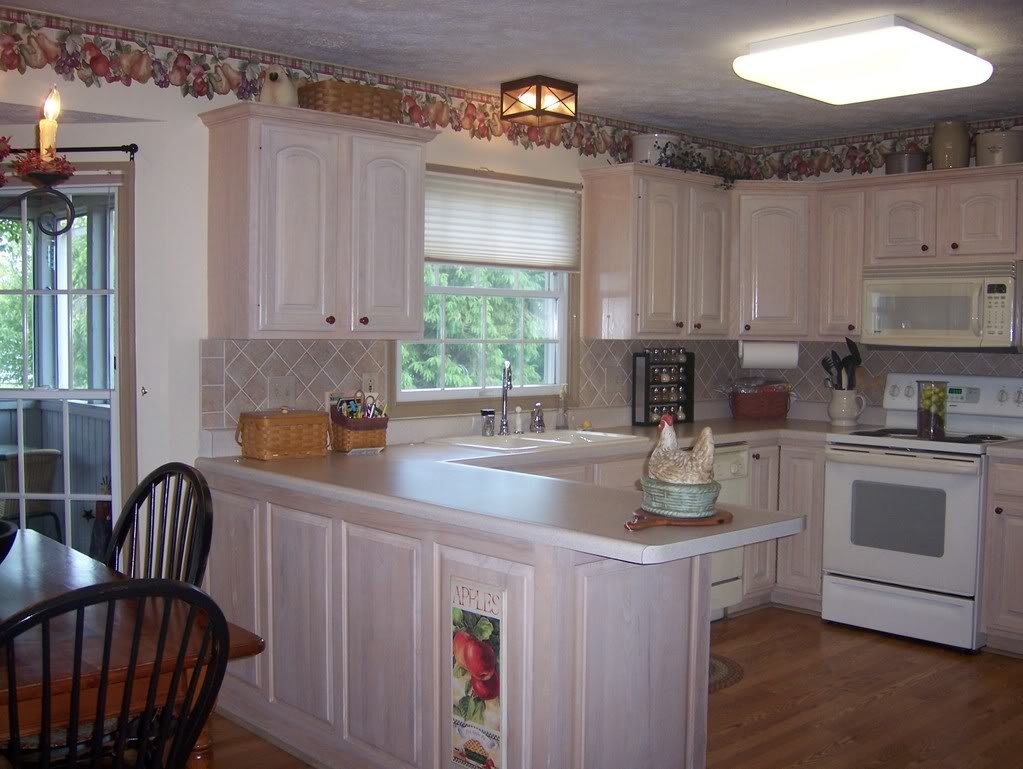 Bleached Wood Kitchen Cabinets