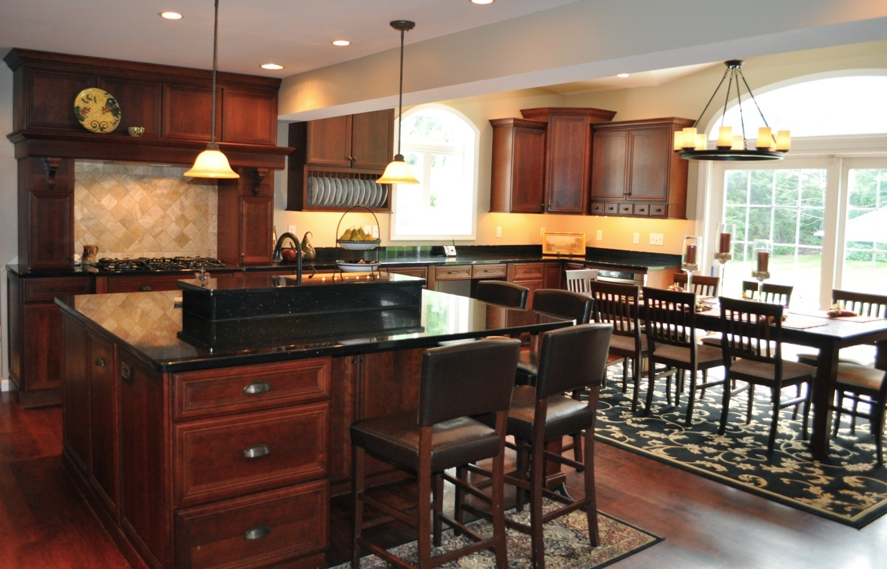Cherry Kitchen Cabinets With Black Granite Countertops