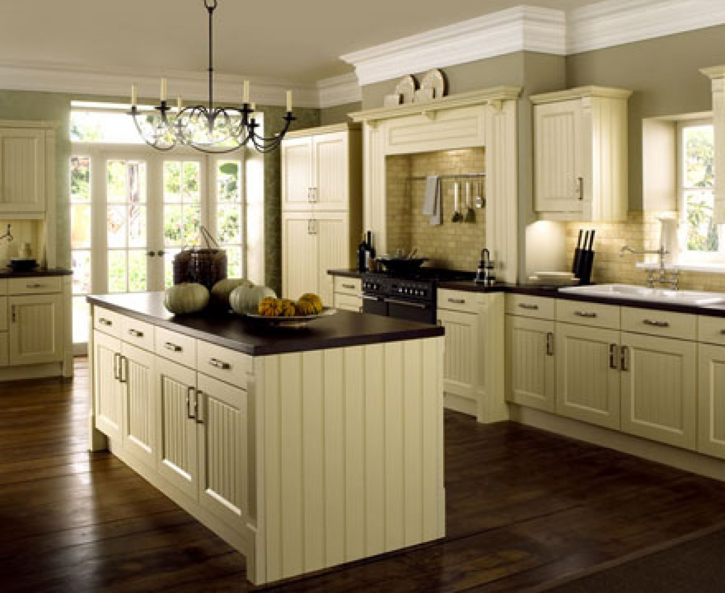 Cream Kitchen Cabinets With Dark Countertops