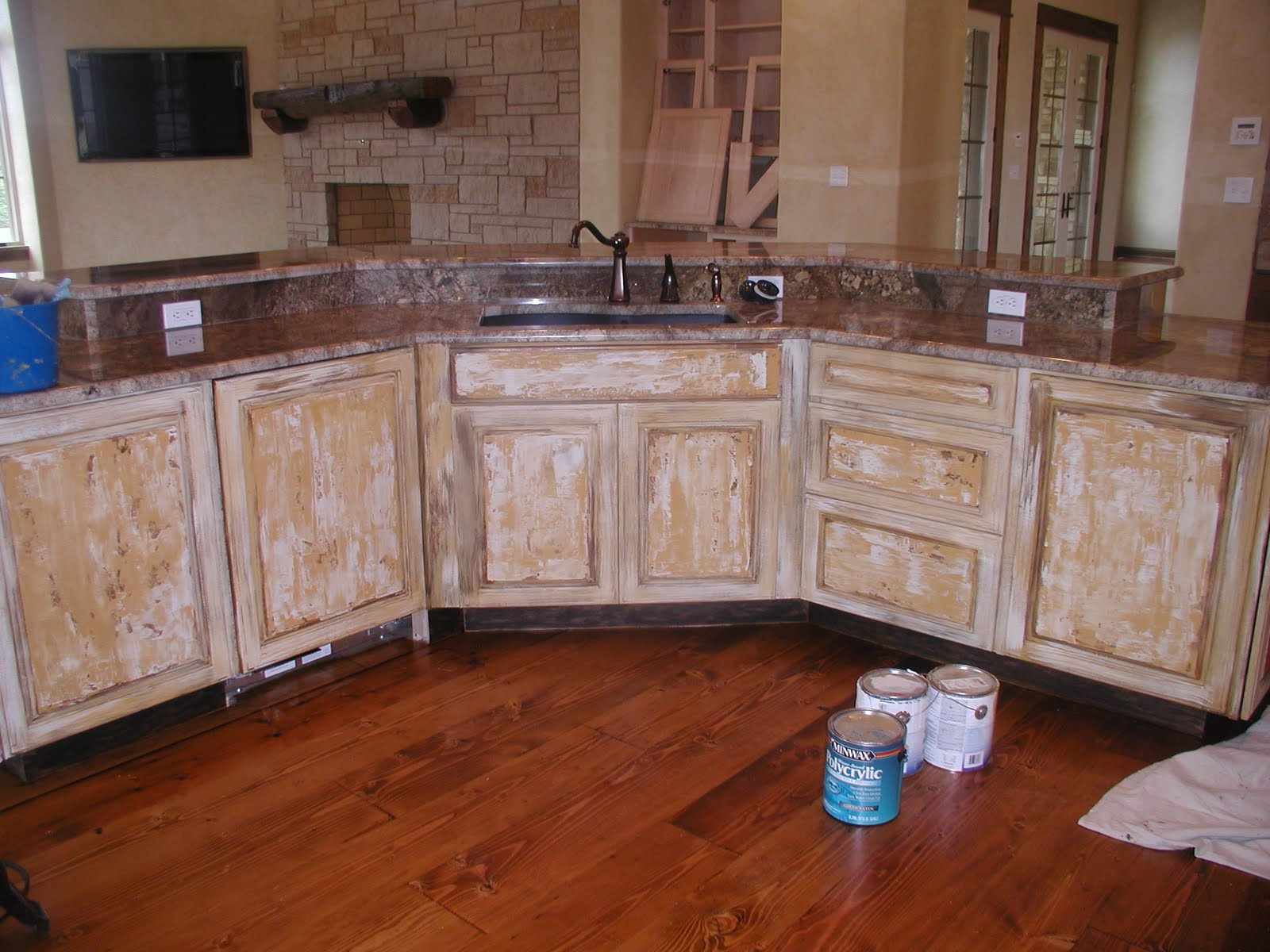 Distressed White Washed Kitchen Cabinets
