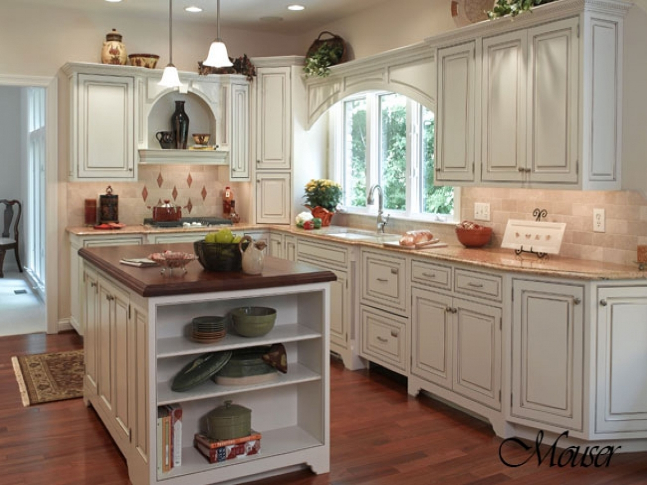 French Country Kitchen With Oak Cabinets