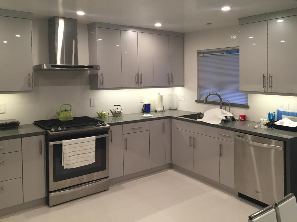Gray Flat Front Kitchen Cabinets