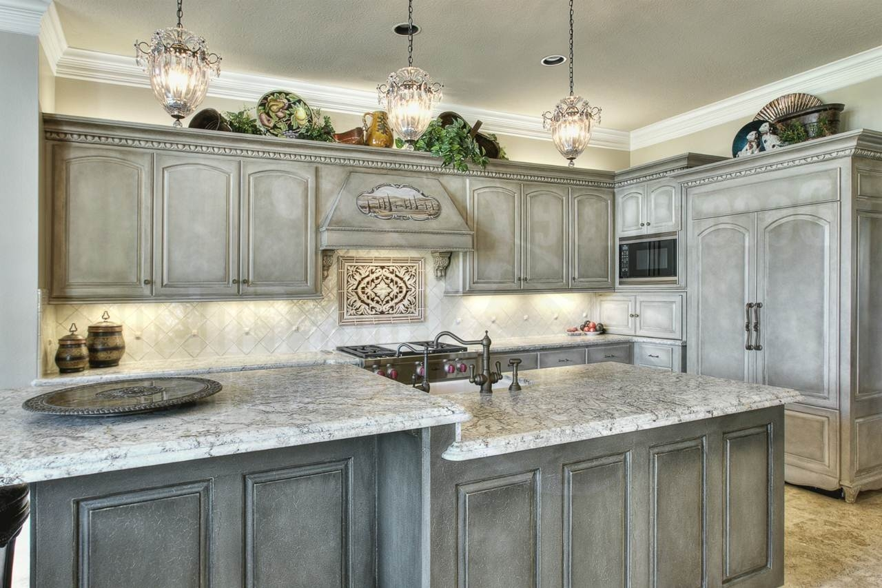 Grey Distressed Kitchen Cabinets