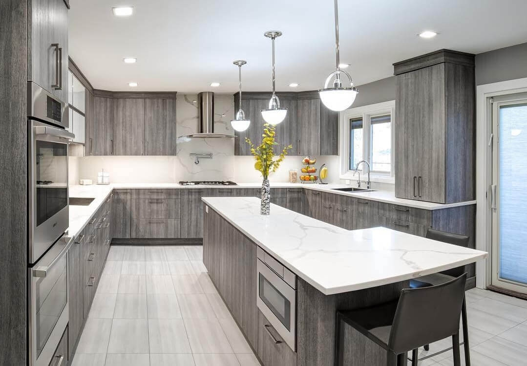 Grey Stained Wood Kitchen Cabinets
