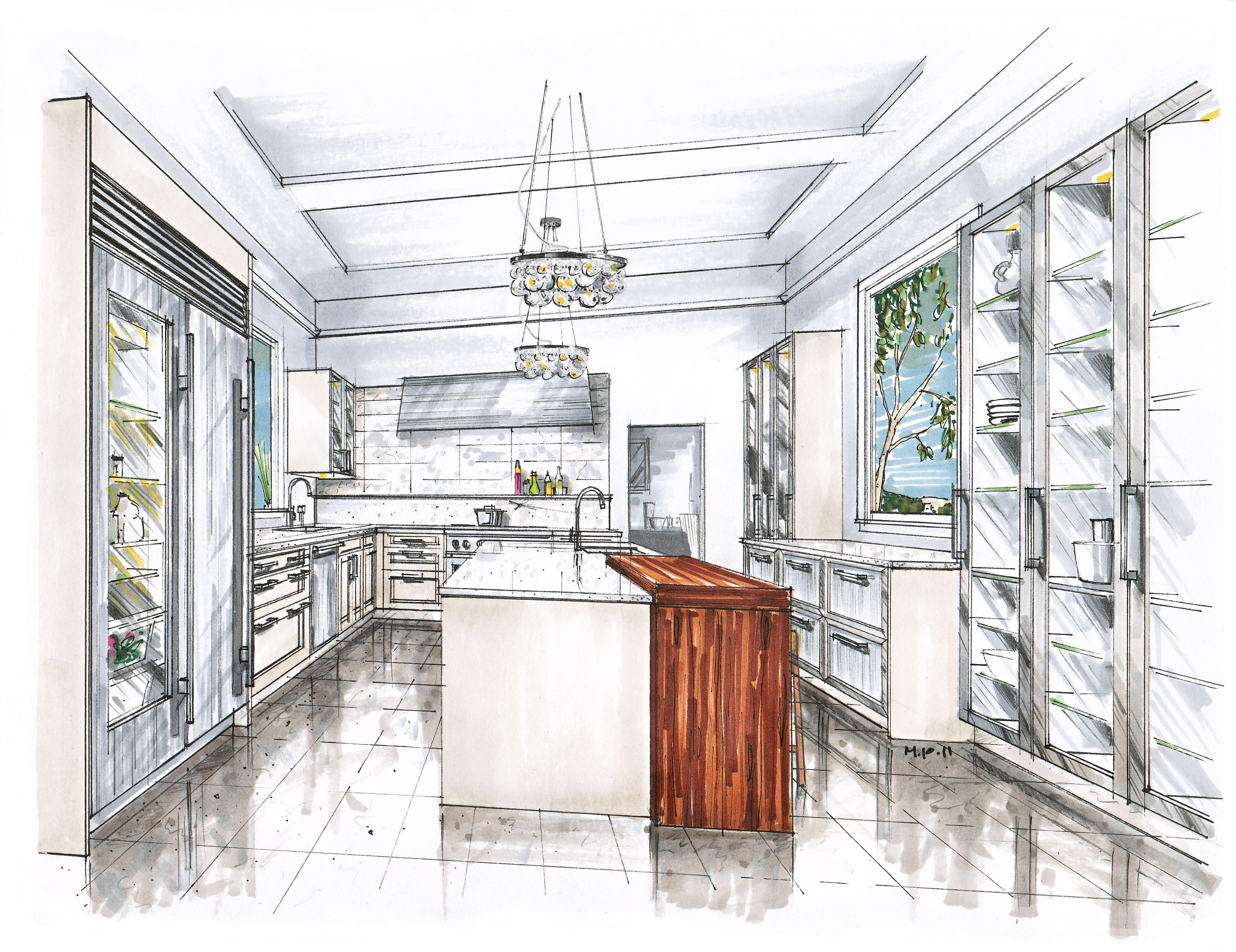 Hand Drawing Kitchen Cabinets